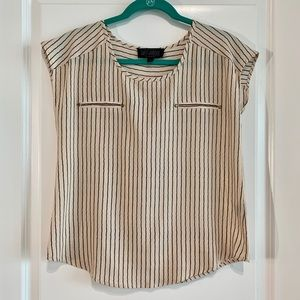Beige and Black Striped Top